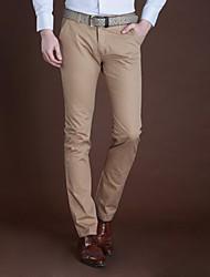 Casual Magro cor sólida Pant Masculina