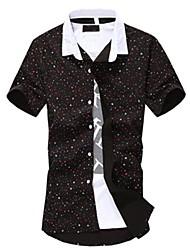 お買い得  -男性用 プリント プラスサイズ シャツ コットン