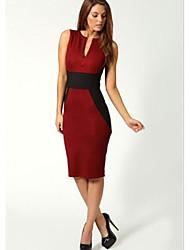 Dame dyb v-hals Stitching kontrast farve Bodycon Knælang kjole