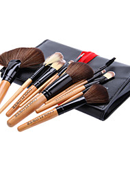 12Pcs Cosmetic Brush Tools with Black Leatherette Pouch