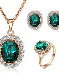 Neue Art-18K Rose Gold Kristall Österreich Sapphire Stein Halskette Ohrringe Ring Set
