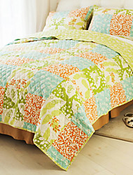 conjunto quilt huani®, 3 peças padrão verificador 100% algodão estilo country primavera colorida