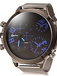 Herren Militäruhr Armbanduhr Duale Zeitzonen Quartz Legierung Band Silber