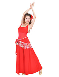 Belly Dance Outfits Women's Training Rayon Nylon Sequins Tassel(s) Sleeveless Natural