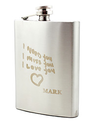Personalized Stainless Steel 8-oz Flask - I Love You