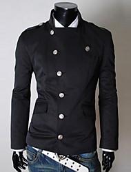 Недорогие -Мужской Смесь хлопка Куртка На каждый день,Однотонный,Длинный рукав,Черный / Серый / Бежевый / Светло-коричневый