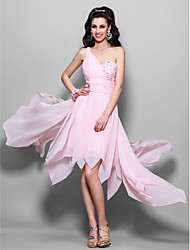 A-Line Princess One Shoulder Knee Length Asymmetrical Chiffon Prom Dress with Beading by TS Couture®