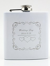 Gift Groomsman Personalized White Stainless Steel 6-oz Flask Wedding Day