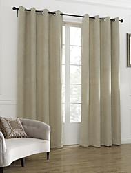 cheap -Two Panels Curtain Neoclassical , Solid Living Room Linen/Polyester Blend Material Curtains Drapes Home Decoration For Window