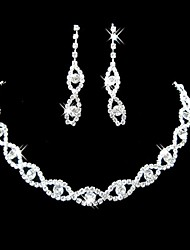 cheap -Women's Synthetic Diamond Jewelry Set - Rhinestone, Silver Plated Elegant, Bridal Include Drop Earrings / Bridal Jewelry Sets Silver For Wedding / Party / Engagement / Necklace