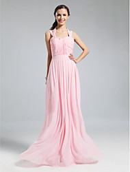 Sheath / Column Halter Floor Length Chiffon Bridesmaid Dress with Beading Draping Ruching Pleats by LAN TING BRIDE®