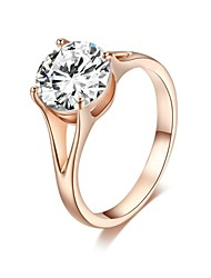 cheap -Exquisite Bridal Ring 18K Rose Gold Plated 4 Prong Clear Simulated Diamond Wedding Ring