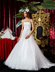 cheap -A-Line / Princess Strapless Court Train Tulle Made-To-Measure Wedding Dresses with Appliques / Sash / Ribbon by LAN TING BRIDE®