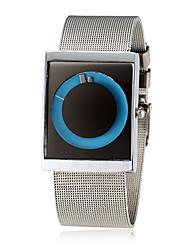 abordables -Unisex Creativo Esfera Plata Acero banda de cuarzo reloj de pulsera (colores surtidos)