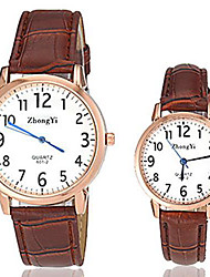 cheap -Men's Women's Couple's Fashion Watch Quartz Casual Watch Leather Band Charm Black White Brown