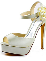 Women's Spring Summer Fall Platform Satin Stretch Satin Wedding Stiletto Heel Platform Satin Flower Black Silver Red Champagne Ivory