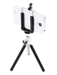 I-12-3-BK Mini Desktop aluminium statief met Single-deck drie secties (Sliver & Zwart) & Mobile Phone Tripod Mount Holder
