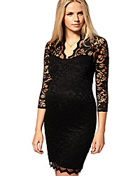 Kvinder med V-udskæring Sexy Bodycon Lace 3/4 Sleeve Dress