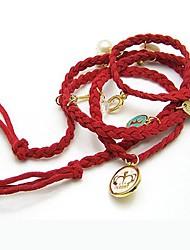 Populaire coréen Multi Leather Préparation J'aime la fraise Couronne Bracelet Shell perle