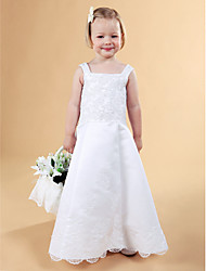 cheap -A-Line Princess Floor Length Flower Girl Dress - Lace Satin Sleeveless Straps with Beading by LAN TING BRIDE®