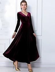 Недорогие -JFS женщин элегантное платье v шеи