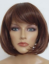 Capless Short Dark  Brown  Bobo Straight High Quality Synthetic Japanese High Temperature Resistant Fiber Wig