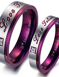 cheap -Women's Couple Rings - Titanium Steel Fashion 5 / 6 / 7 Purple For Party / Daily / Casual / Rhinestone