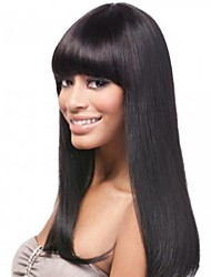 cheap -16inch neat bang 100 indian human hair silky straight glueless front lace wig for black women