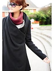 Недорогие -Жен. Пальто Свободный вырез Уличный стиль - Сплошной цвет, Шерсть / Осень / Зима