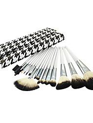 Недорогие -Про Высокое качество 16 шт Природный козьей шерсти набор кистей Макияж с Houndstooth мешок