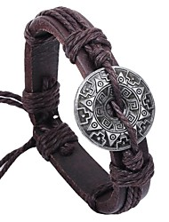 cheap -Vintage Chinese Code 24cm Men's Brown Leather Vintage Bracelet(Brown)(1 Pc) Christmas Gifts