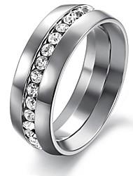 Недорогие -Мода Одноместный Блестящий Алмаз Гладкий Титан Мужская стали одной Кольцо