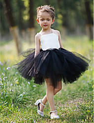 Ball Gown Short / Mini Flower Girl Dress - Satin Tulle Sleeveless Straps with Lace