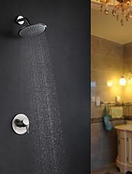 Недорогие -Смеситель для душа - Современный Матовый никель Только душ Керамический клапан Bath Shower Mixer Taps / Латунь / Одной ручкой Два отверстия