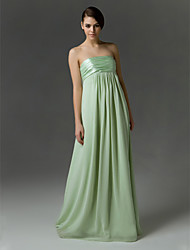 Sheath / Column Strapless Floor Length Chiffon Charmeuse Bridesmaid Dress with Draping Ruching Pleats by LAN TING BRIDE®
