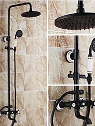 """Недорогие -смеситель для душа 8 """"дюймовый двумя ручками масло потер бронзовый стену водопада дождь с КПК"""