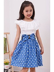cheap -Girl's Daily Going out Polka Dot Dress Summer Short Sleeves Dot Lace Black Red Blue