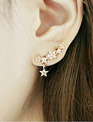 cheap -Women's Star Rhinestone Gold Plated Stud Earrings - Golden Earrings For Wedding Party Daily
