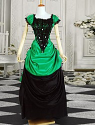 cheap -Classic Lolita Dress Victorian Satin Women's One Piece Dress Cosplay Black Short Sleeves