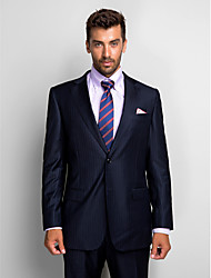 cheap -Stripes Tailored Fit Wool Polyester Suit - Notch Single Breasted Two-buttons