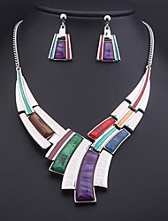 Women's Colored Gemstone (Necklace&Earrings) Jewelry Set