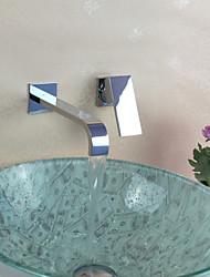 povoljno -Suvremena Zidne slavine Waterfall Keramičke ventila Two Holes Jedan obrađuju dvije rupe Chrome, Kupaonica Sudoper pipa