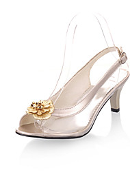 Women's Sandals Spring Summer Comfort Leatherette Dress Casual Kitten Heel Buckle Walking