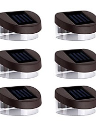 cheap -6pcs 2LED White Solar Lights Wall Stair Parapet Walkway Outdoor Deck Lamp