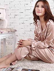 baratos -Mulheres Decote V Conjunto Cetim & Renda Pijamas Jacquard