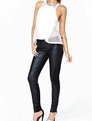 baratos -Mulheres Cintura Média Micro-Elástica Justas/Skinny Calças, Poliuretano Poliéster Primavera Sólido