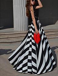 Damen Kleid Sexy Gestreift Maxi Ärmellos Sommer Mikro-elastisch Dünn