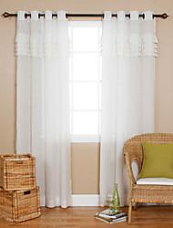 Un pannello Trattamento finestra Paese , Tinta unita Salotto Tessuto sintetico Materiale Sheer Curtains Shades Decorazioni per la casaFor
