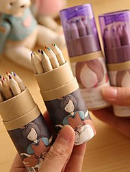 Cartoon Girl Pattern 12 Color Painting Pencil(12 PCS/Set) For School / Office