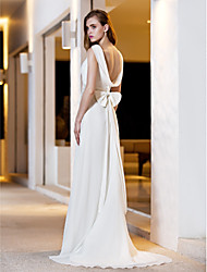 A-Line Square Neck Sweep / Brush Train Satin Georgette Wedding Dress with by LAN TING BRIDE®